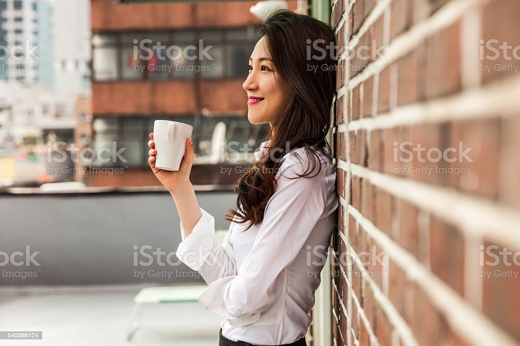 Coffee break on the Office rooftop in Seoul stock photo