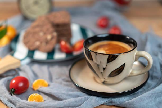 coffee break, with homemade heart shape chocolate cookies