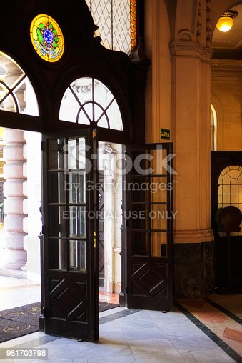 Santos, SP, Brazil - June 10, 2018: Detail of the doors of the old building of the Coffee Brokerage Exchange in the historic district of Valongo