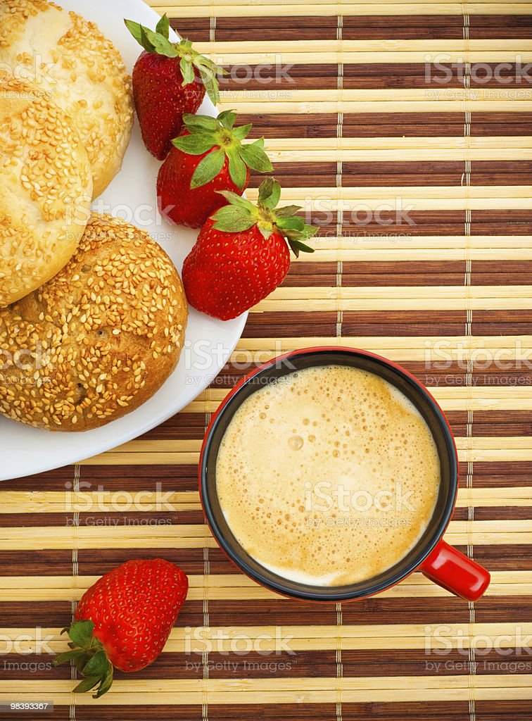 coffee, buns and strawberries royalty-free stock photo