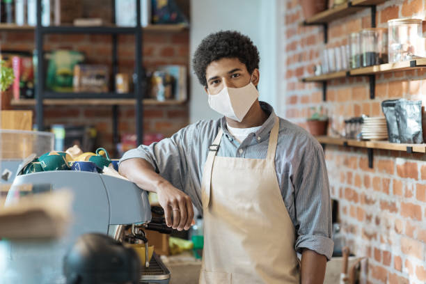 Coffee business, startup and back to normal concept stock photo
