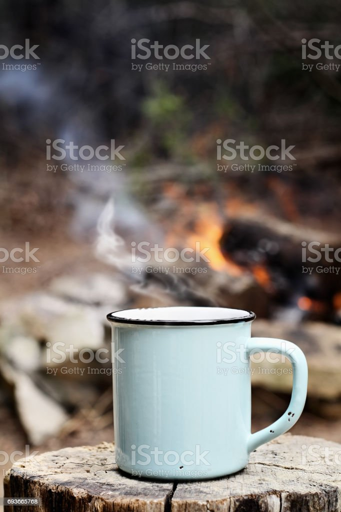 Coffee by a Campfire stock photo