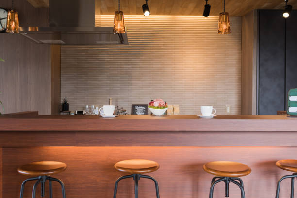 Coffee cafe counter Scenery of coffee cafe in Japan tea room stock pictures, royalty-free photos & images