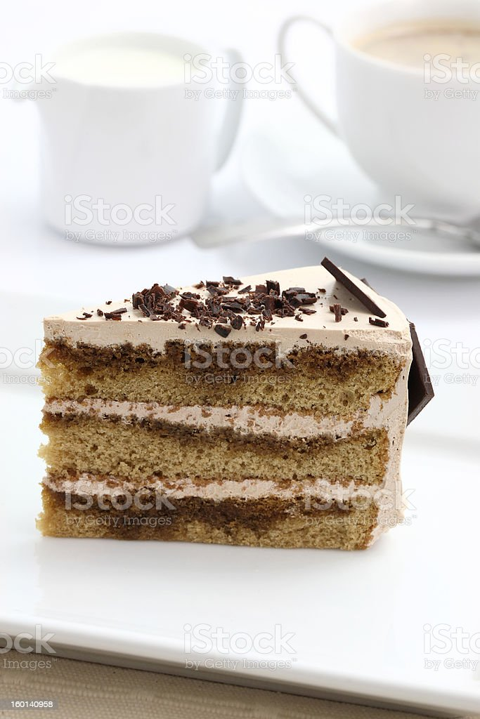Coffee cake in white background royalty-free stock photo