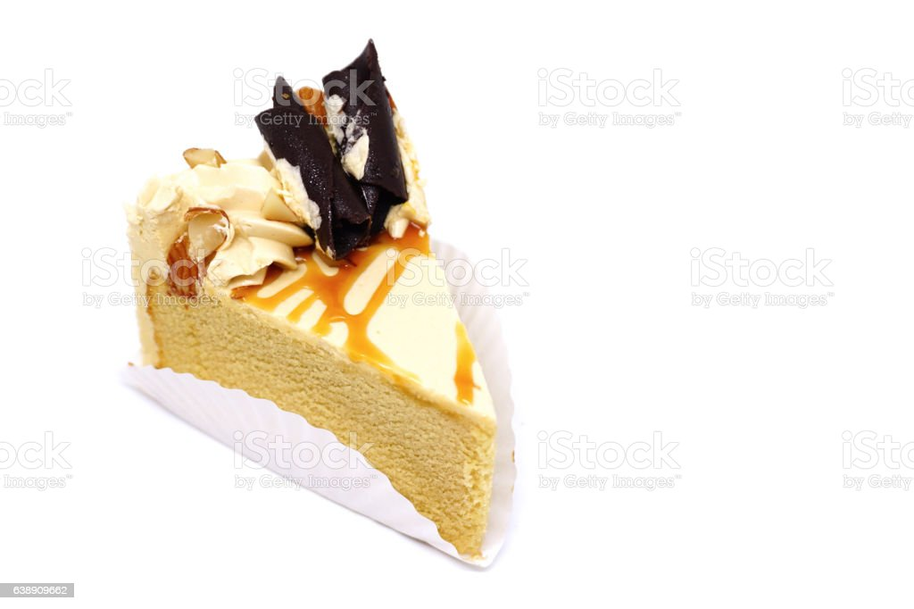 Coffee cake on white background stock photo