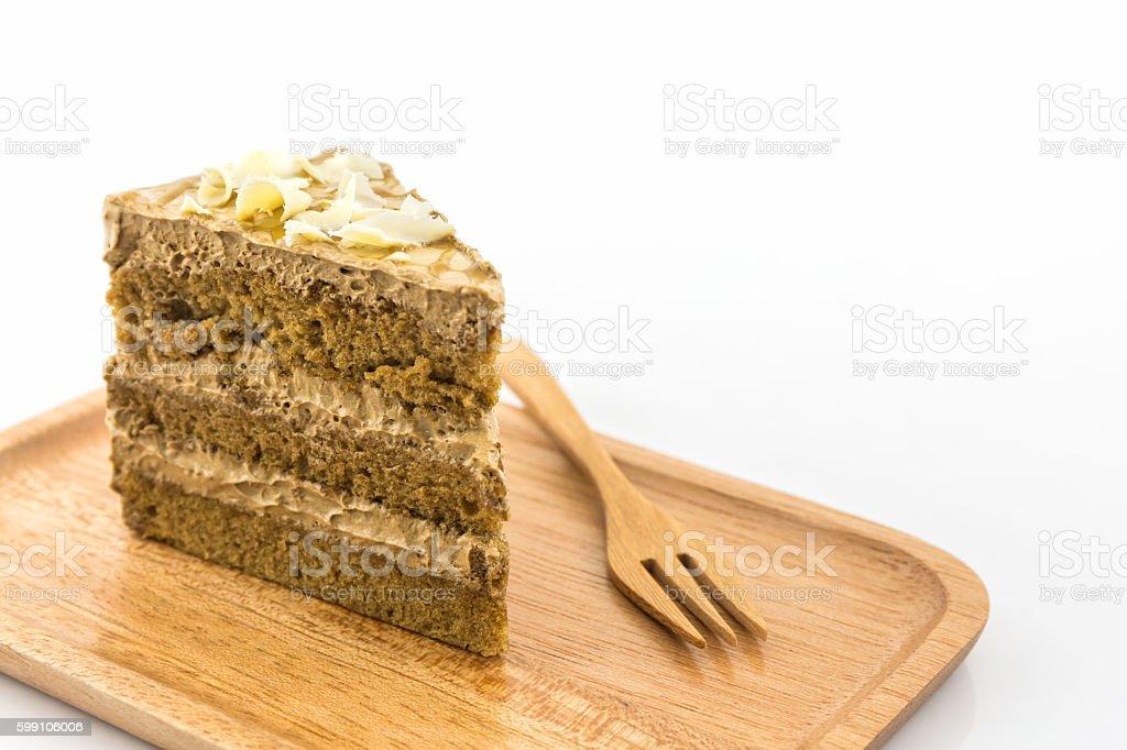Fatia de bolo do café. - foto de acervo