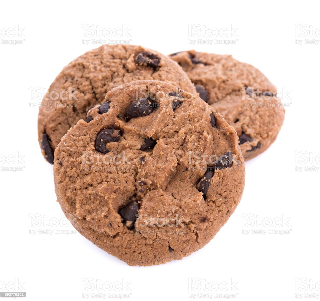 Coffee Chocolate Chip Cookie isolated on white background stock photo