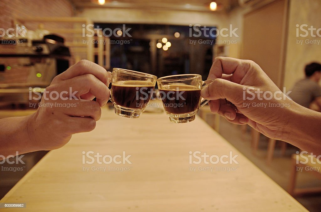coffee clink glasses stock photo