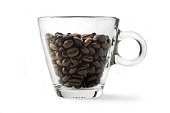 Coffee: Coffee Beans and Cup Isolated on White Background.One glass coffee cup, studio shot.