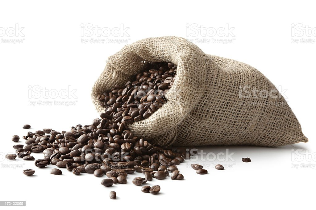 Coffee: Coffee Beans in Sack Isolated on White Background royalty-free stock photo