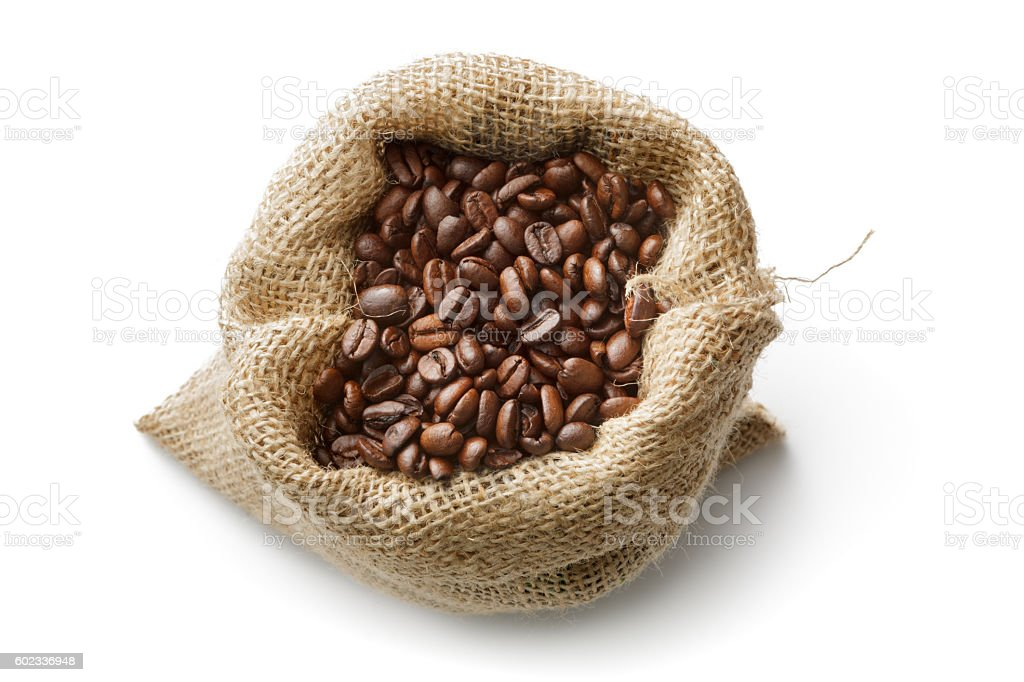 Coffee: Coffee Beans in Sack Isolated on White Background stock photo