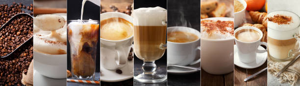 coffee collage of various types coffee drinks stock photo