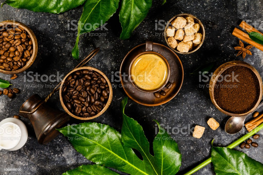 Coffee composition on dark rustic background stock photo