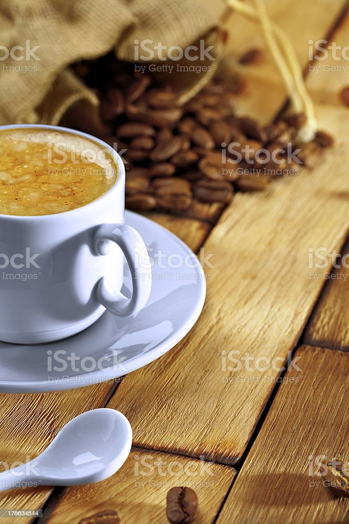 coffee composition on wooden table royalty-free stock photo