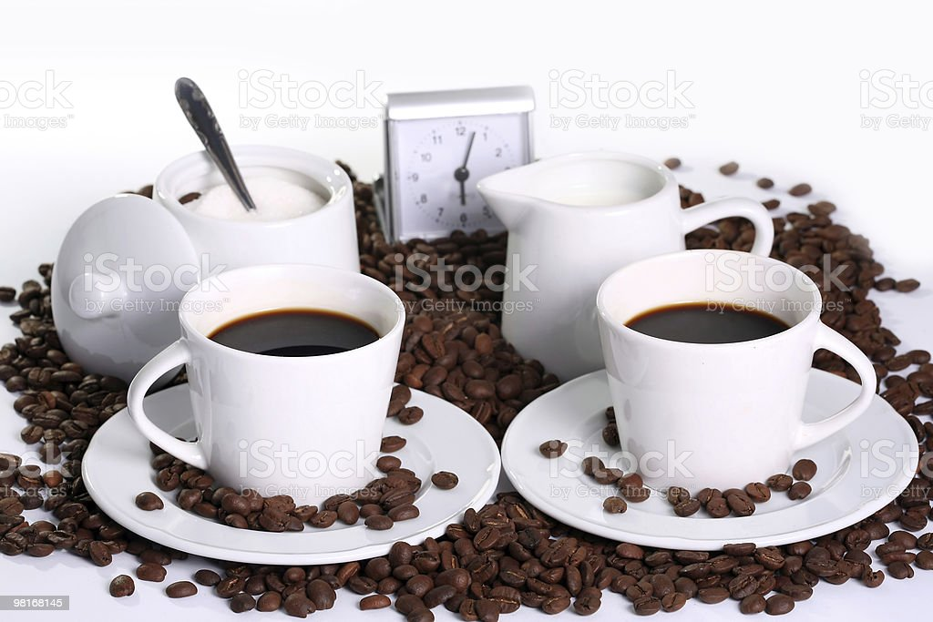 coffee composition with clock royalty-free stock photo
