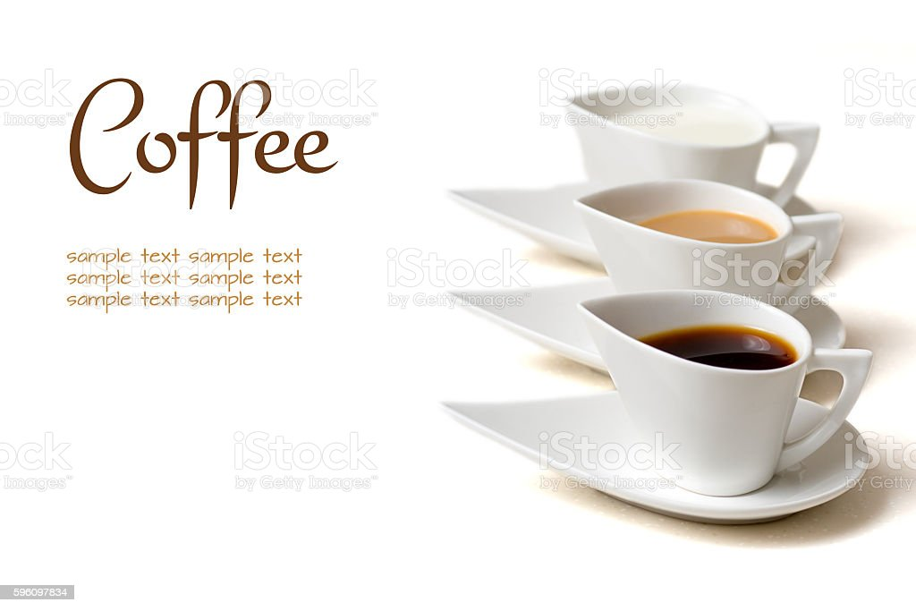 coffee concept with three coffee cups royalty-free stock photo