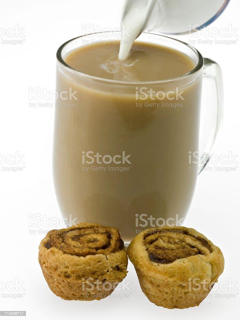 Coffee cream and cinnamon rolls royalty-free stock photo