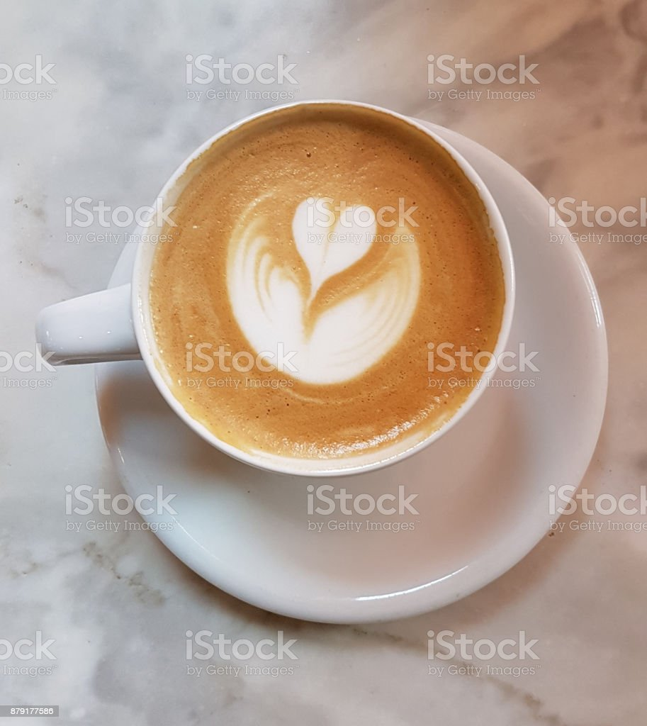 A coffee cream heart stock photo