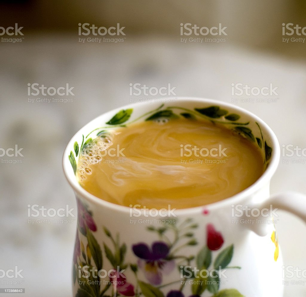 Coffee & Cream Steaming Hot in the Morning royalty-free stock photo