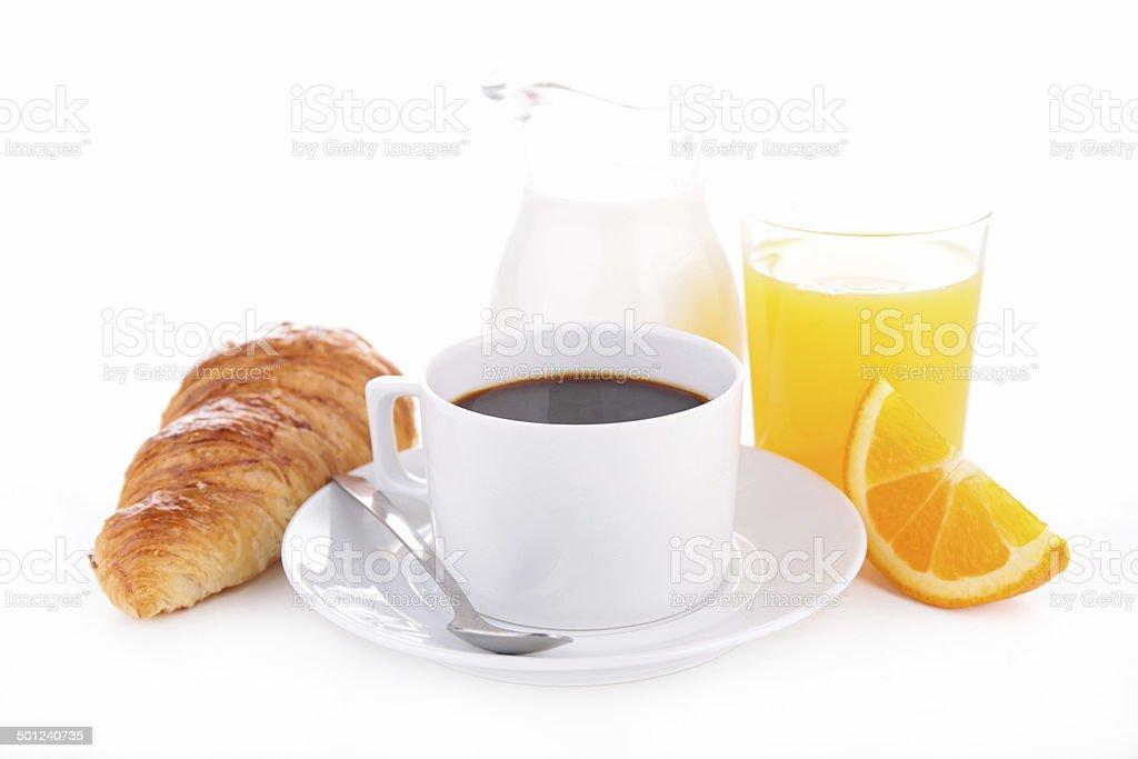 coffee, croissant and orange juice stock photo