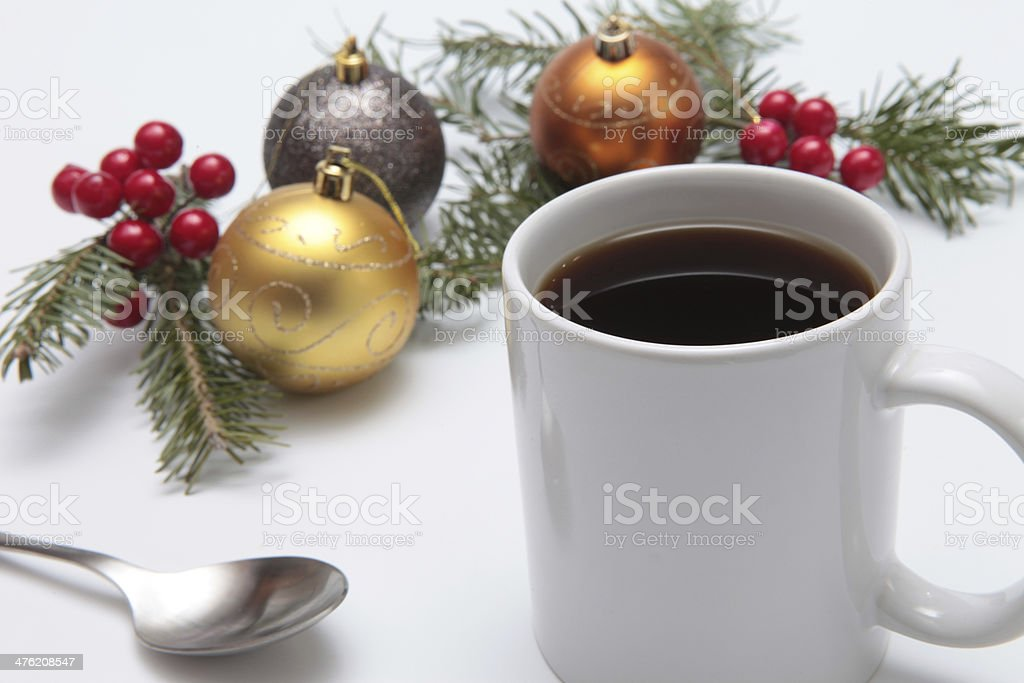 coffee cup and baubles royalty-free stock photo