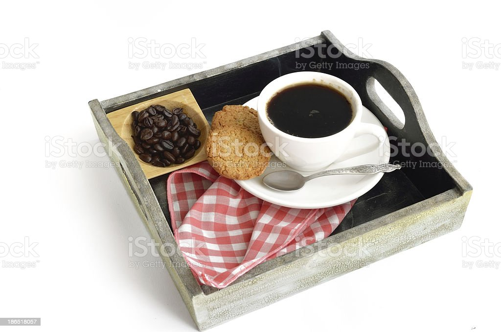 Coffee cup and beans with biscuit royalty-free stock photo