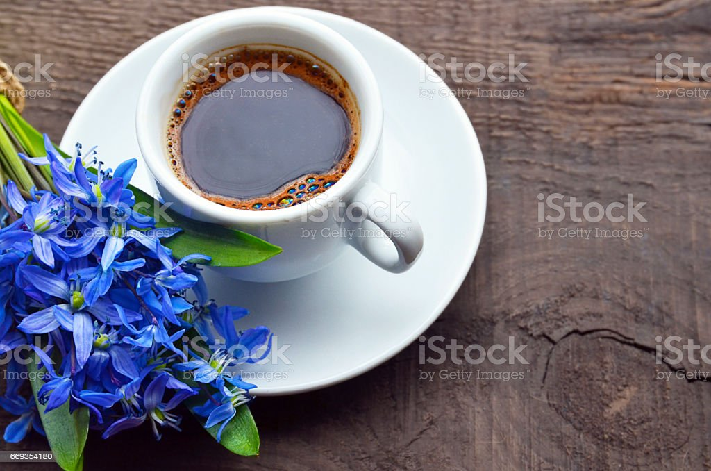 Coffee Cup And Bouquet Of First Spring Flowers On Old Rustic Wooden Tablecoffee Mug And Scilla Flowers Stock Photo Download Image Now Istock