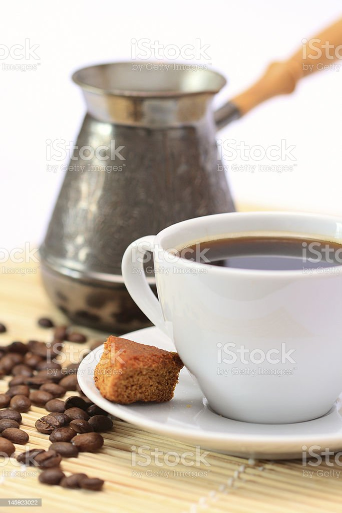 Coffee cup and Cezve royalty-free stock photo
