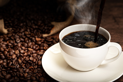 Coffee Cup And Coffee Beans Stock Photo - Download Image Now