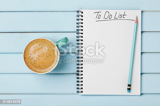 istock Coffee cup and notebook with to do list, planning concept 514914078