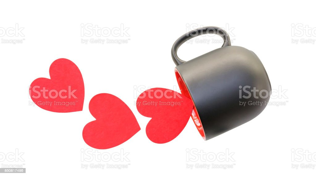 coffee cup and red heart on a white background. stock photo