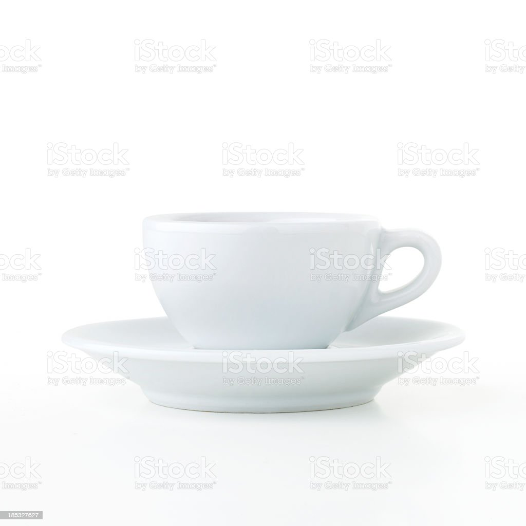 Coffee cup and saucer isolated on white background stock photo