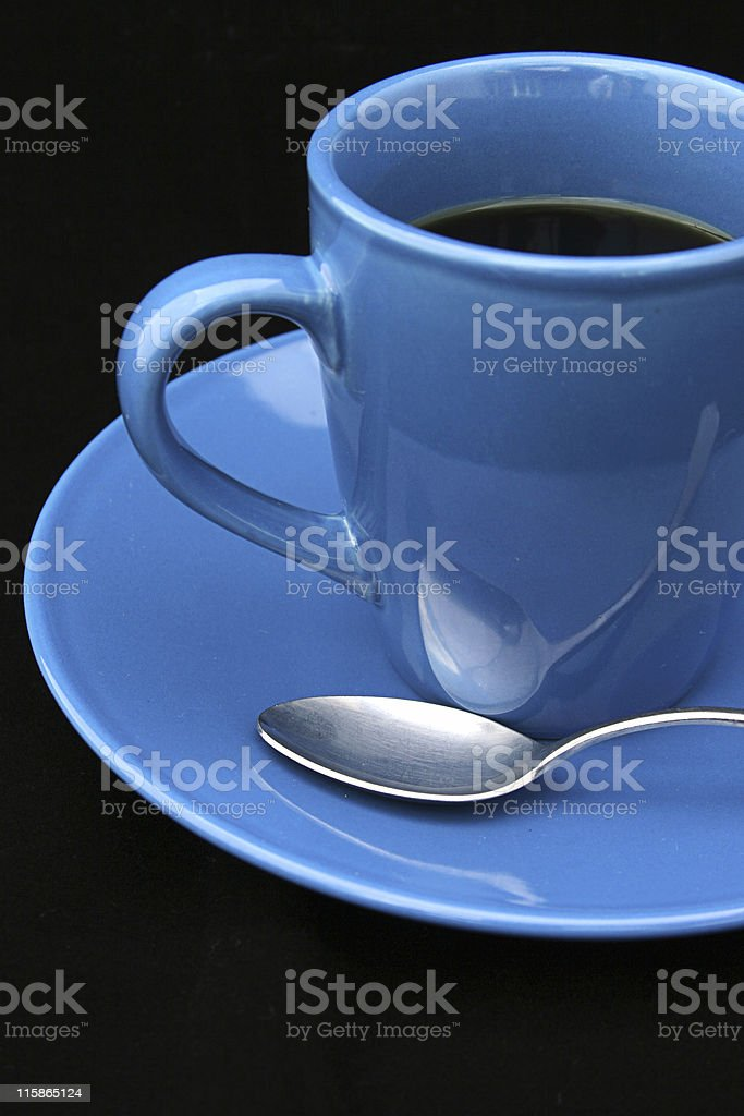 Coffee Cup and Spoon on Black royalty-free stock photo