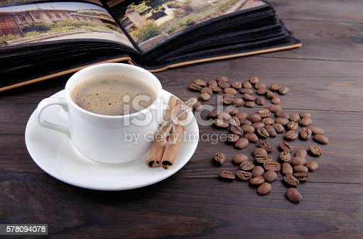 istock Coffee cup, beans and cinnamon 578094078