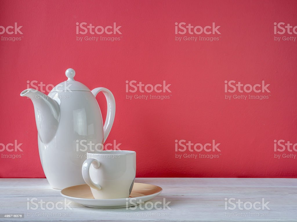 Coffee cup, ceramic utensil on wooden table/ interior still life stock photo