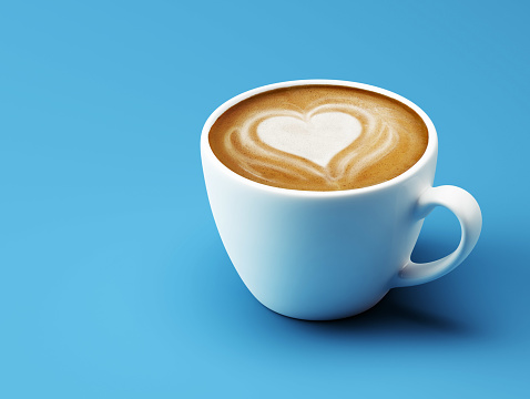 Heart Shape Coffee Cup Concept isolated on cyan background