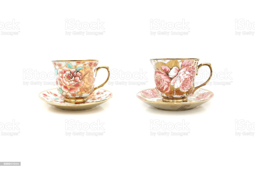 Coffee cup floral patterns stock photo