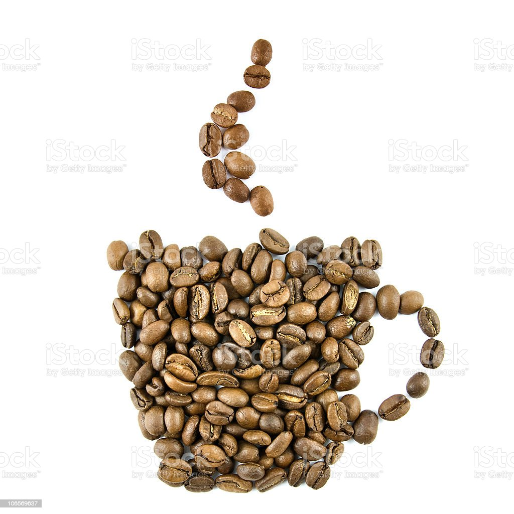 Coffee cup from beans isolated on white royalty-free stock photo