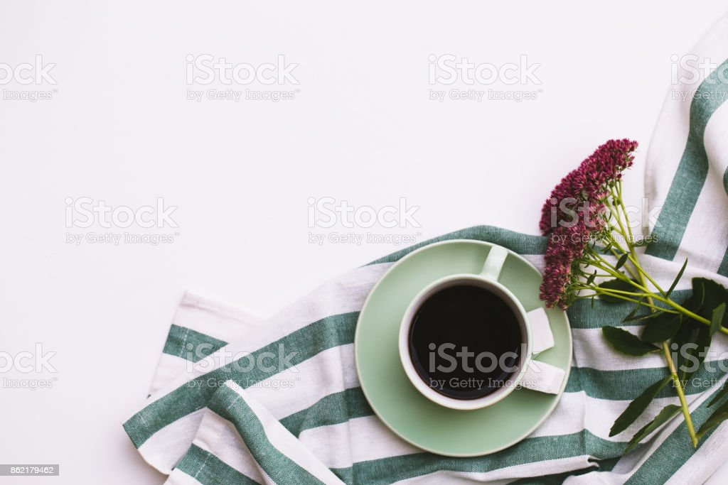 Coffee cup, glasses on white background stock photo