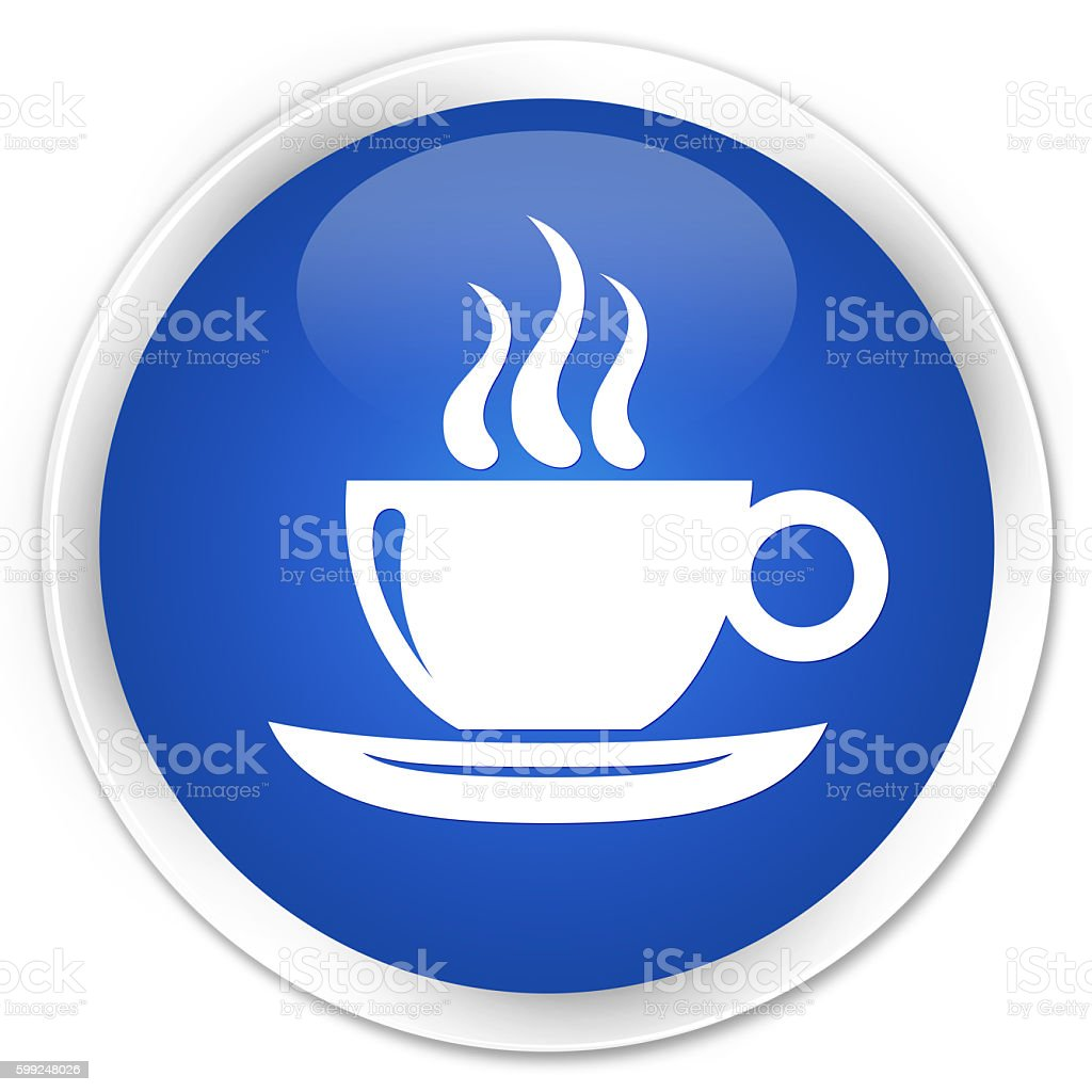 Coffee cup icon blue glossy round button stock photo