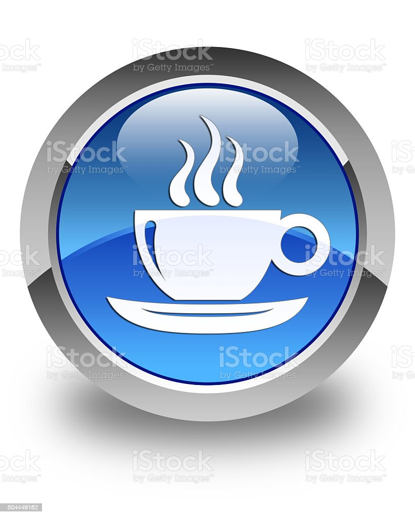 Coffee cup icon glossy blue round button stock photo