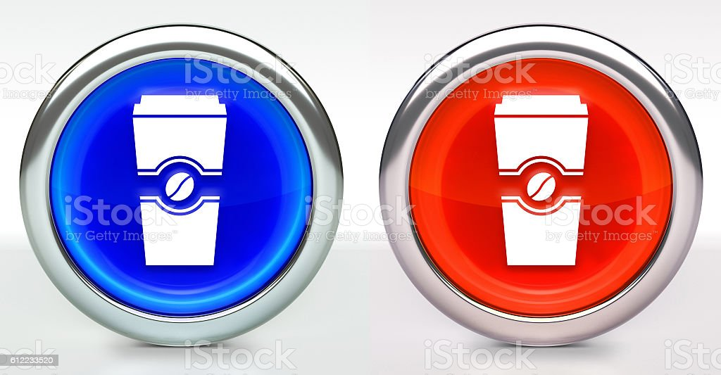 Coffee Cup Icon on Button with Metallic Rim stock photo
