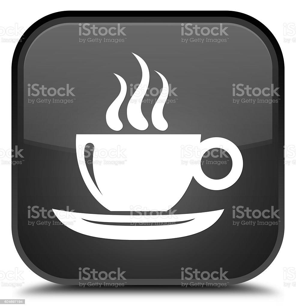 Coffee cup icon special black square button stock photo