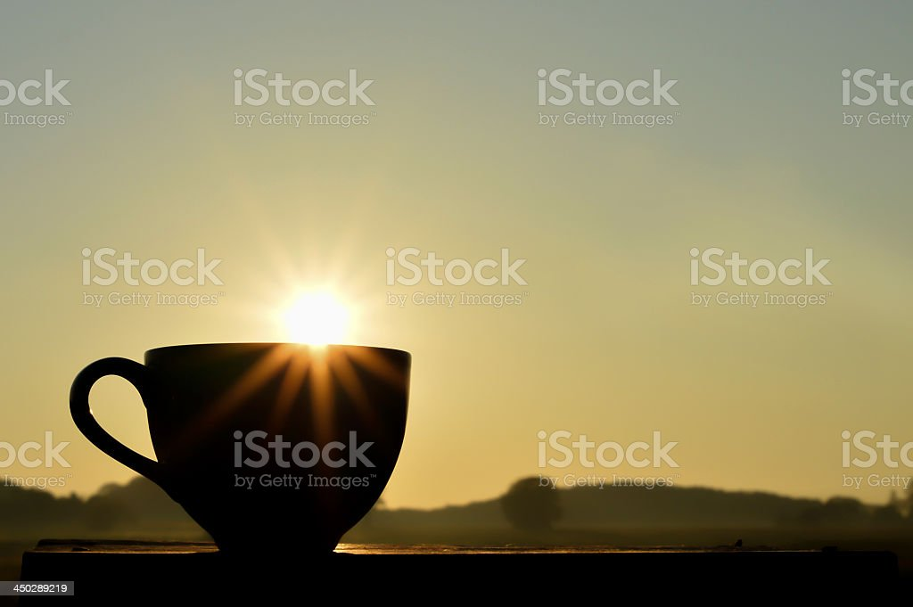 Coffee cup in morning stock photo