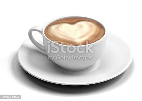 coffee, cup, latte, 3d, isolated on white