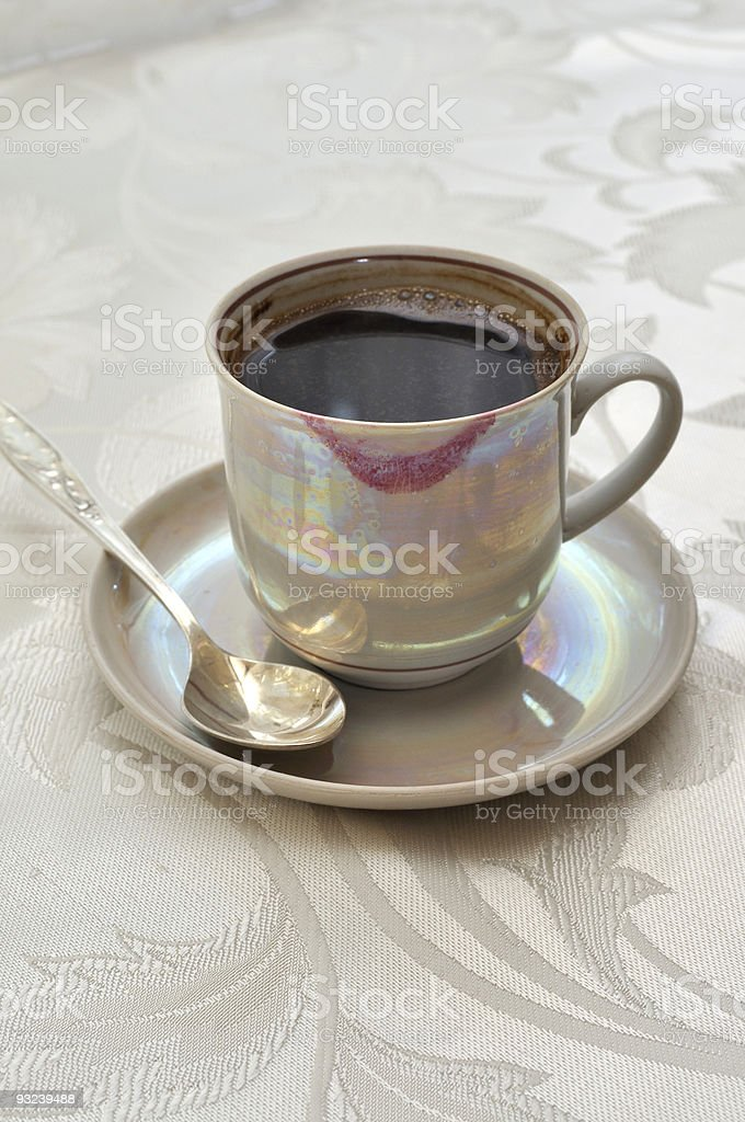 Coffee cup lipstick royalty-free stock photo