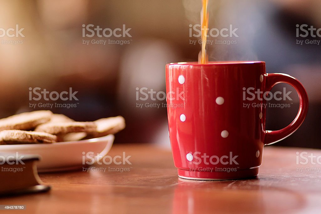 Coffee cup on table stock photo