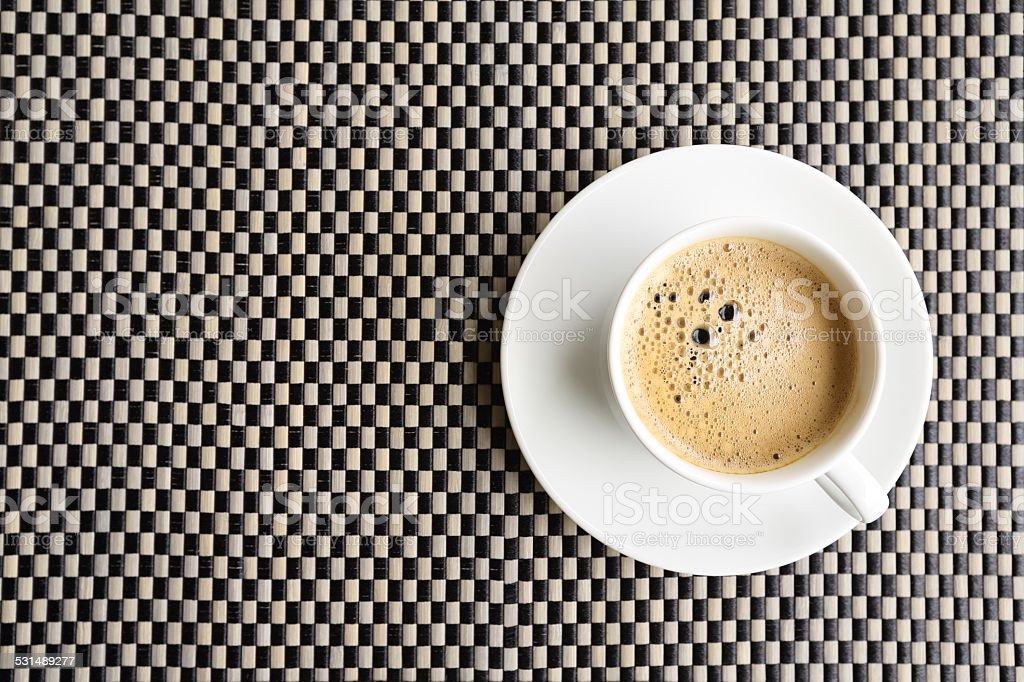 coffee cup on the plate  mat stock photo