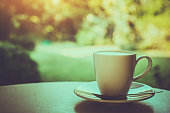 coffee cup on the table style vintage.