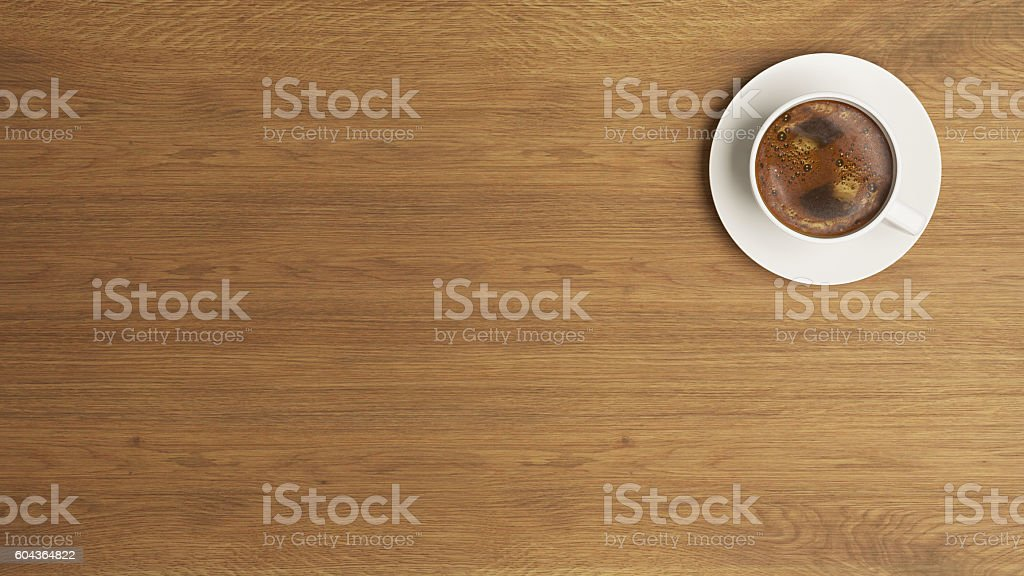 coffee cup on the wooden desk concept stock photo